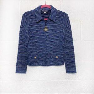 St. John Collection Tweed Pearl Zipper Jacket